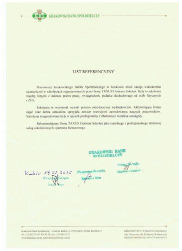 Krakowski Bank Spółdzielczy referencje