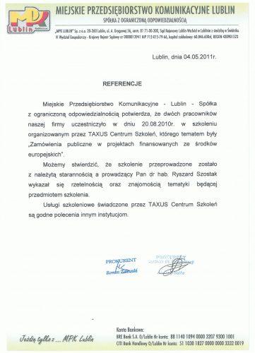 Miejskie Przedsiębiorstwo Komunikacyjne Lublin Referencje